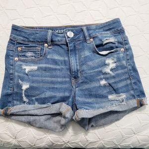 AE Hi-Rise Shortie Jean Shorts Size 4